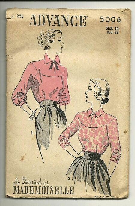 Advance 5006 1940's High necked yoked blouse with two types of long sleeves.