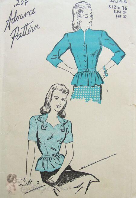Advance Pattern 4044 Overblouse Circa 1940s