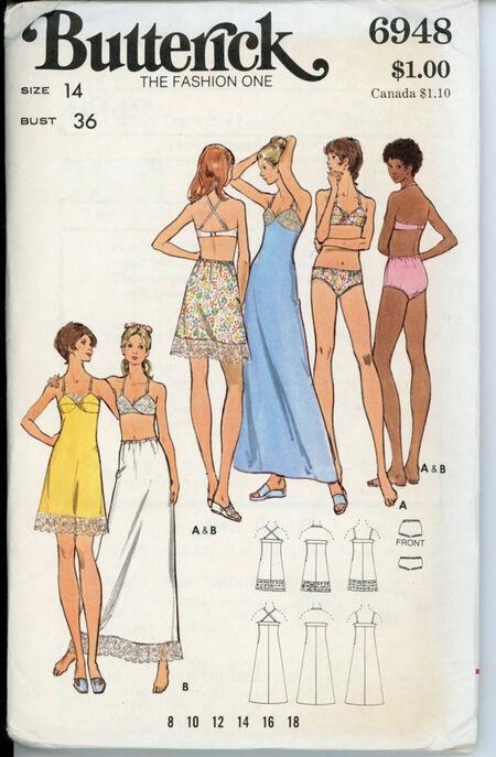 Butterick 6948 A 1972© Misses' Bra, Bra-Slip, Petticoat, Briefs & Bikinis
