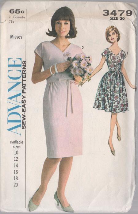 Advance 3479 Slim or full skirted Dress with low V Neck or back.