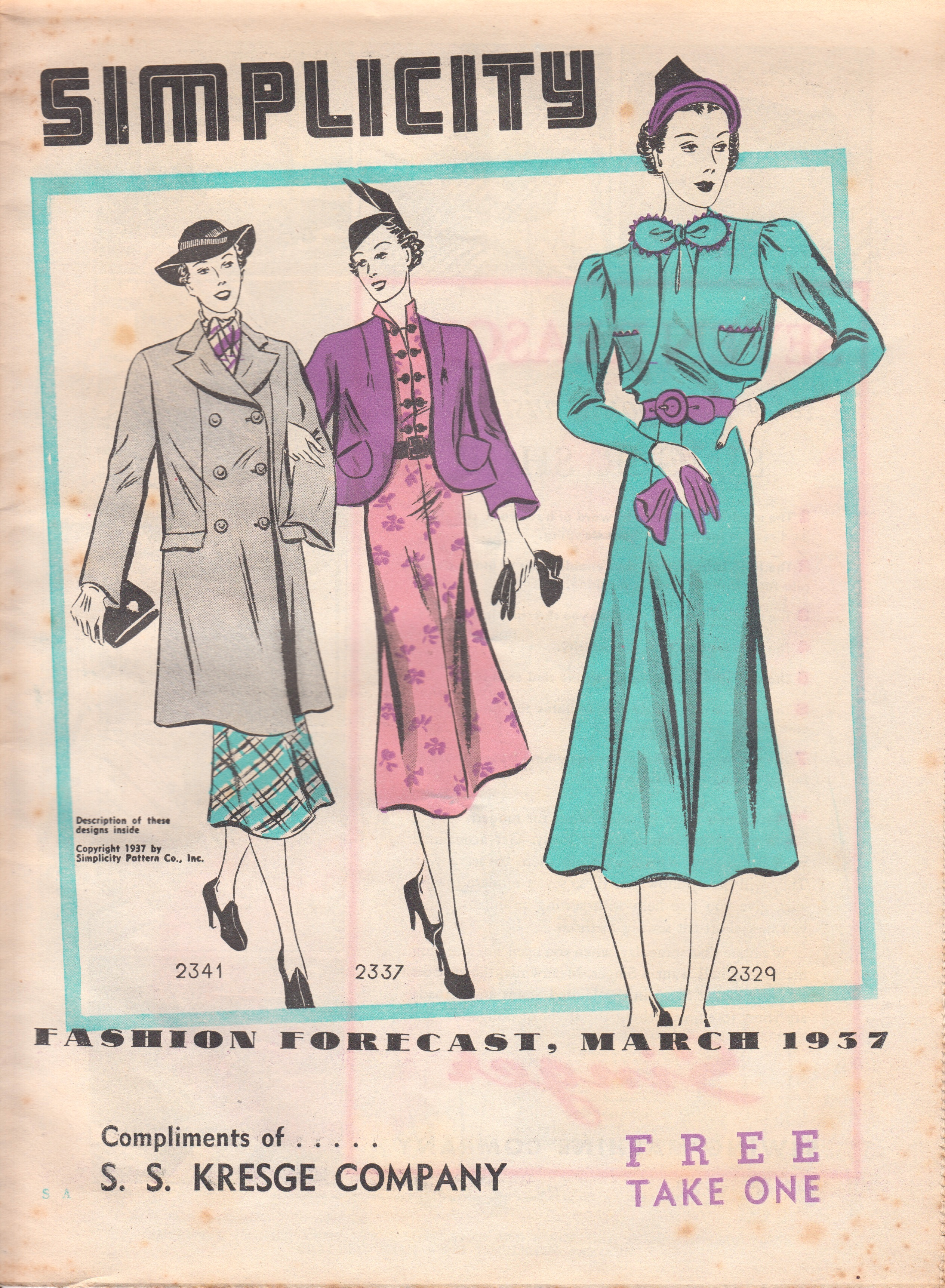 Simplicity Fashion Forecast March 1937
