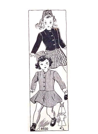 1940s Girls jacket/blouse, flared skirt, suspenders, fold-over cap pattern