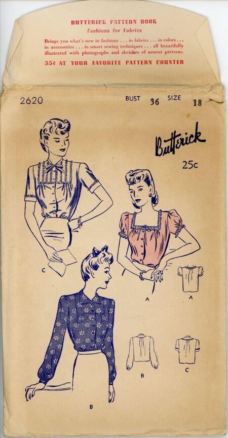 Butterick 2620 Women's and Misses' Blouse - Three Versions