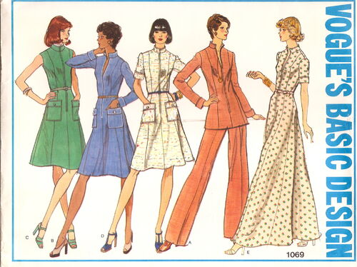 MISSES' DRESS, TUNIC AND PANTS. Semi-fitted dress, in mid-knee or evening length, or tunic, has standing collar, princess seaming, center front zipper and topstitch trim; sleeveless or with short or full length sleeves with turn-back cuffs. With or without patch pockets, mock band and button trim. Straight-legged pants are darted into waistband. Purchased belt holds in slight fullness at waistline. 1970s.