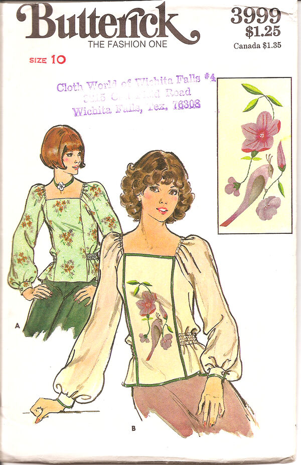 MISSES' BLOUSE & EMBROIDERY TRANSFER. Semi-fitted pull-over blouse has square neckline, full, full length sleeves elasticized at shoulders and gathered into narrow buttoned cuffs, side front seaming, and elasticized thread waistline. With or without purchased ribbon rim. Instructions and transfers included for 'B' embroidery motif.