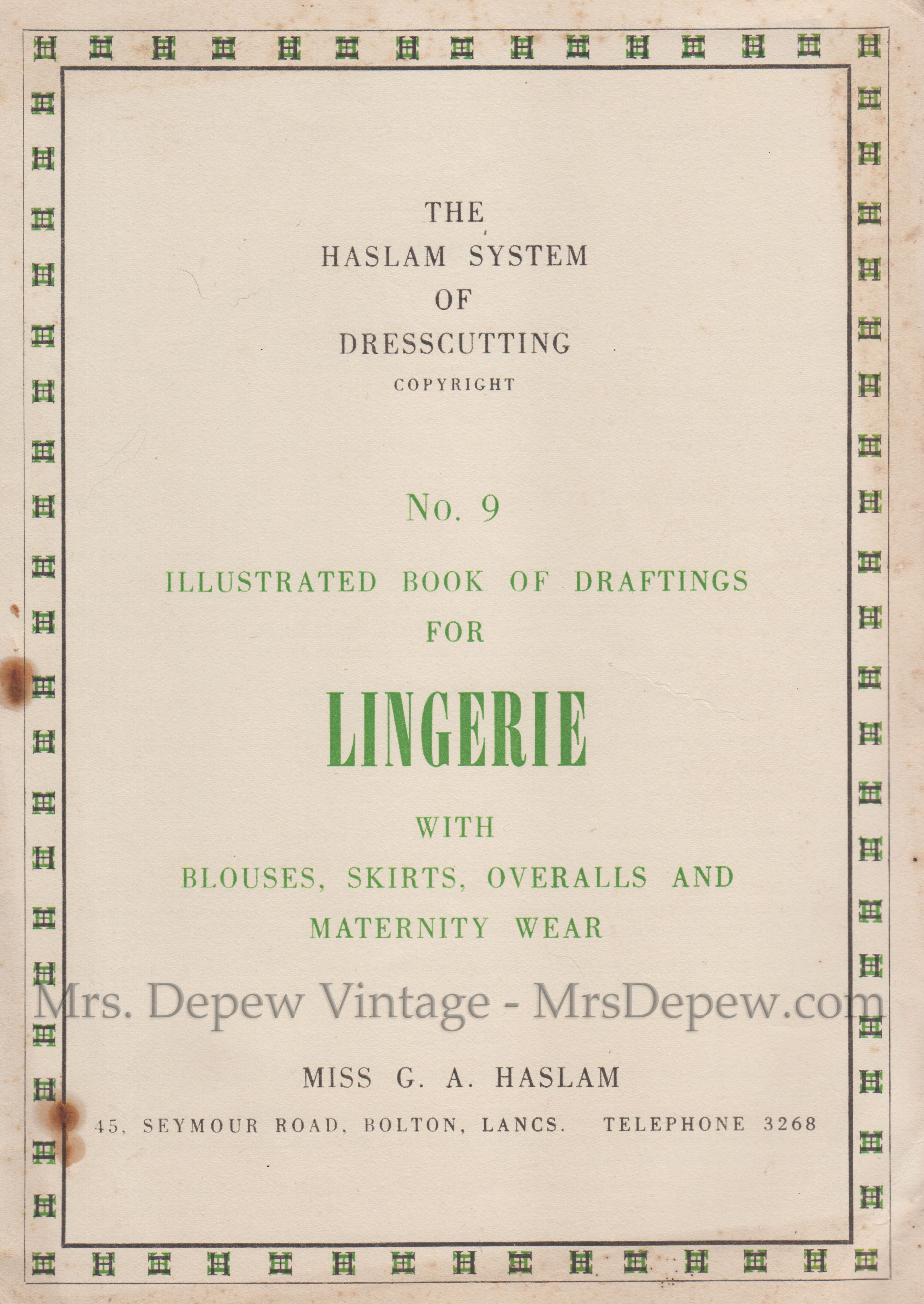 Haslam System of Dresscutting Lingerie No. 9