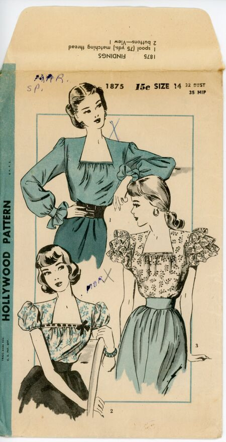 """Hollywood 1875 """"Sew-Simple"""" Blouses"""