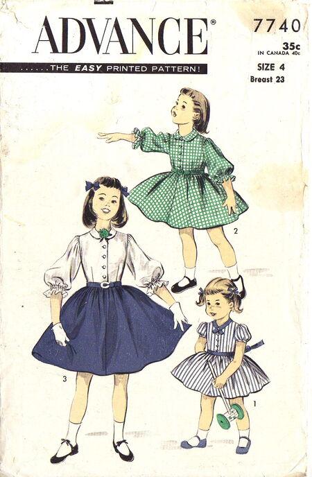 50s LITTLE GIRLS DRESS - Vintage Advance 7740, Easy - One-piece Shirtwaist Dress in Three Versions