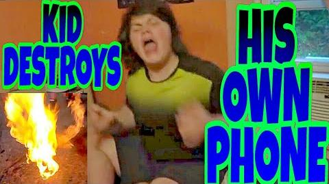 KID BURNS HIS OWN PHONE OVER A PRANK!