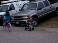 William and Lucy riding bikes