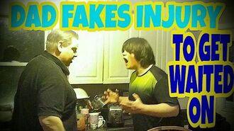 DAD_FAKES_INJURY_TO_GET_WAITED_ON!!!_(RAGE)