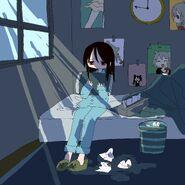 Beatani's drawing of listless Listener-chan hugging a pillow