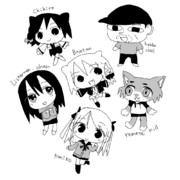 A collage of black-and-white chibi depictions of Beatani's channel's characters
