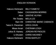 Fate Extra Last Encore Episodes 6-10 Credits