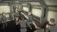 S7E08.17. Garrison personel in panic mode in the halls