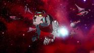 S3E01.2. Red lion cruising through ruins of fleet