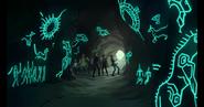 Blue Lion carvings awaken for Lance - full cave