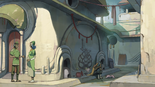 S3E02.4. Puigian citizens and Voltron graffiti in an alley