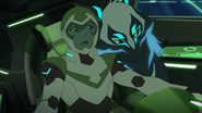 S7E02.278. Space wolf leans over to keep Pidge in her seat