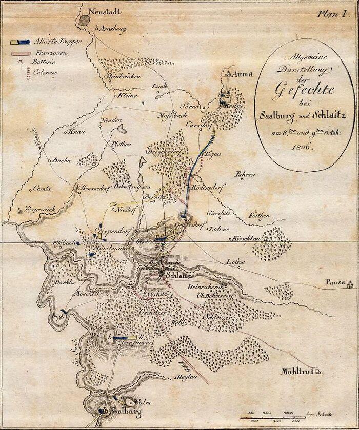 Allgemeine Darstellung der Gefechte bei Saalburg und Schlaitz am 8.ten und 9.ten Octob. 1806.
