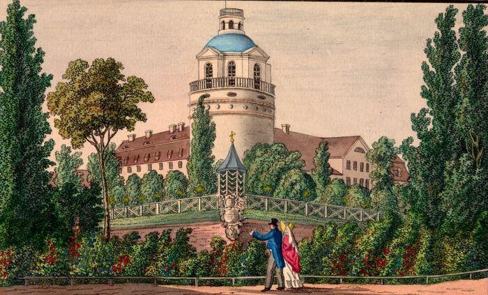 Ansicht des Schlosses Pleissenburg und das Observatoriums zu Leipzig.