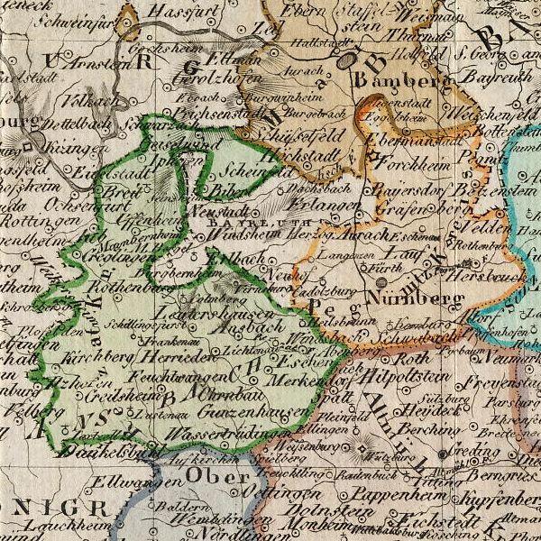 Charte vom Königreiche Bayern nach seiner neuesten Eintheilung vom Jahre 1808.