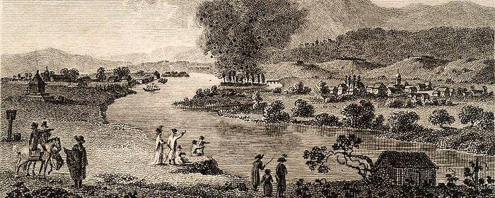 Gegend bey Hüningen, 1797. im Moment der Sprengung.