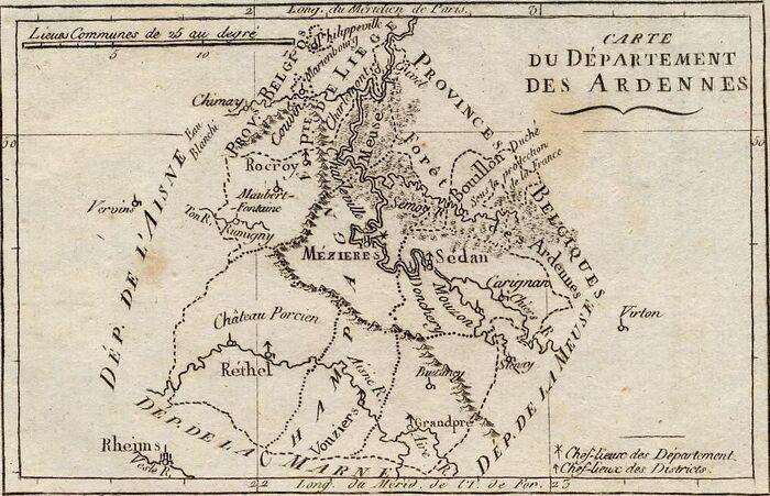 Carte du Département des Ardennes.
