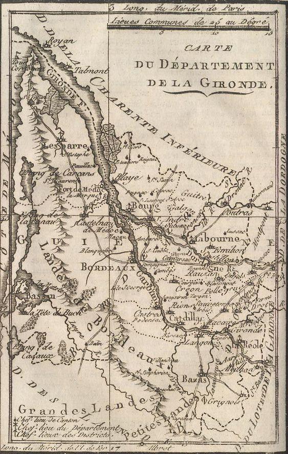 Carte du Département de la Gironde.