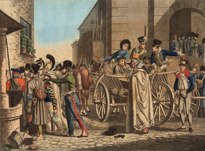 Französische Kriegsgefangene auf dem Transport durch Baiern 1814.