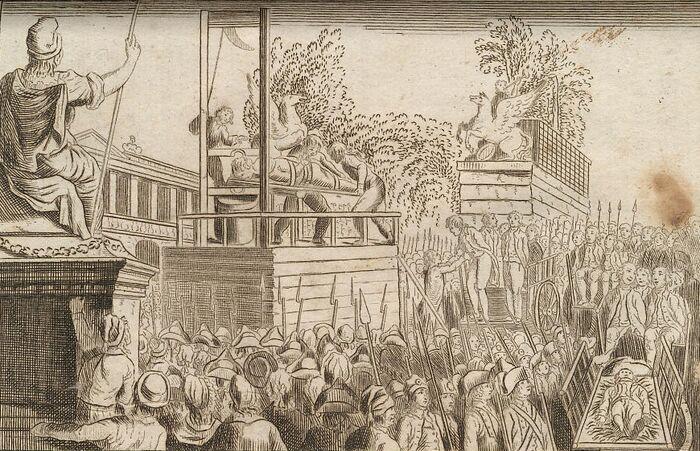 Brissot et 20 de ses Complices à la Guillotine.