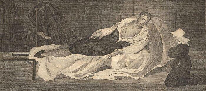 Marschall Neij. Nach der Natur gezeichnet zweij Stunden nach seiner Hinrichtung in Materitätshospital zu Paris.