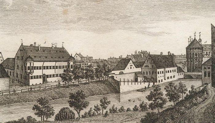 Das evangelische Waisenhaus auf dem untern Graben, nebst dessen Umgebungen.