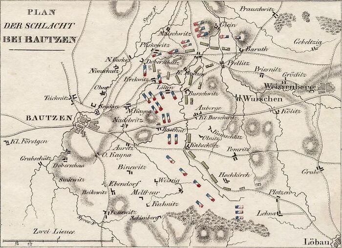 Plan der Schlacht bei Bautzen.