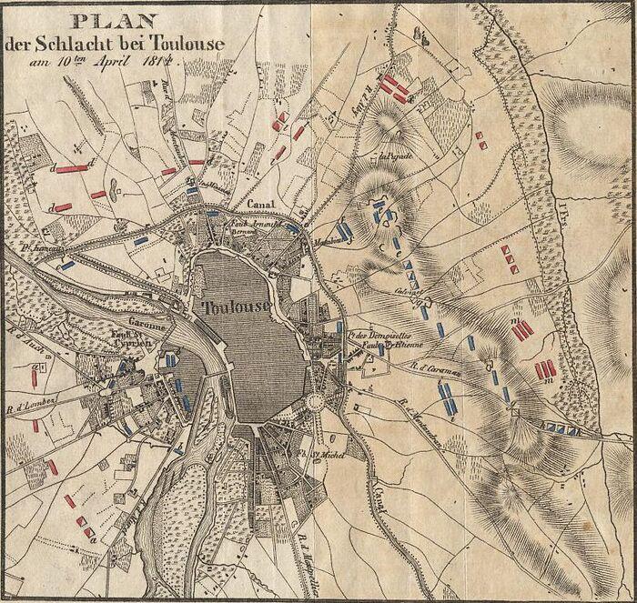 Plan der Schlacht bei Toulouse am 10ten April 1814.