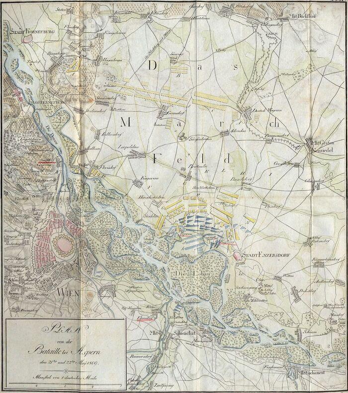 Plan von der Bataille bei Aspern den 21ten und 22ten May 1809..