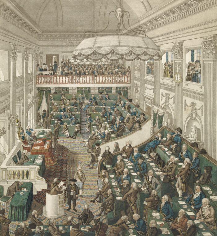 Nauwkeurige afbeelding van de Nationale Vergadering in Den Haag.