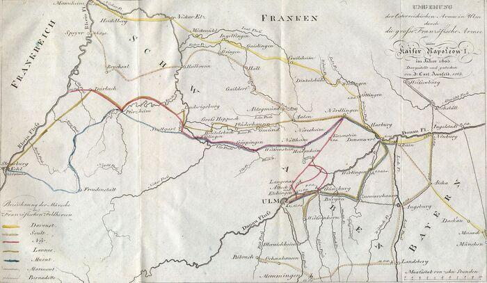 Umgehung der Österreichischen Armee in Ulm durch die grosse Französische Armee unter Kaiser Napoleon I. im Jahre 1805.