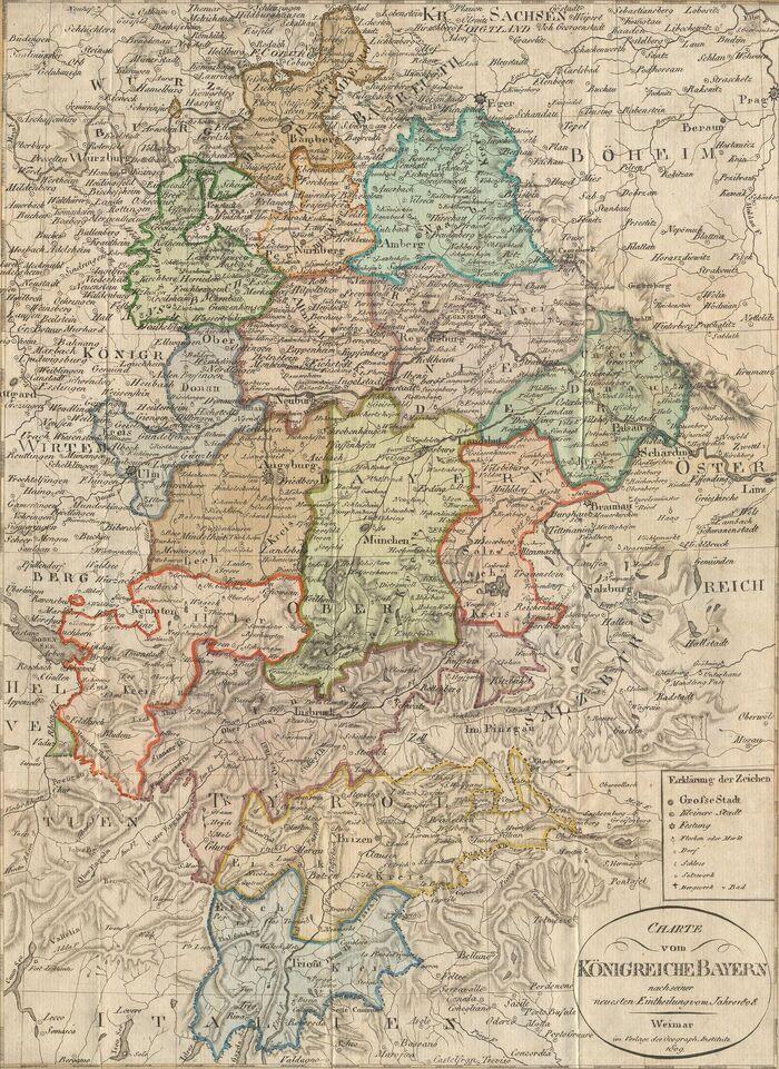 Charte vom Königreich Bayern nach seiner neuesten Eintheilung vom Jahre 1808.