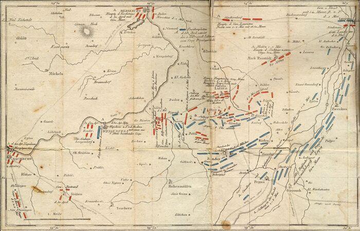 Plan von dem Gefecht und der Schlacht bei Lützen am 1ten und 2ten May, 1813.