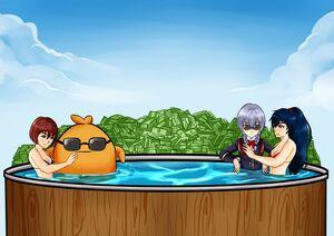 Flynn chilling in tub