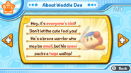 About Waddle Dee, pause description • Kirby's Return to Dream Land