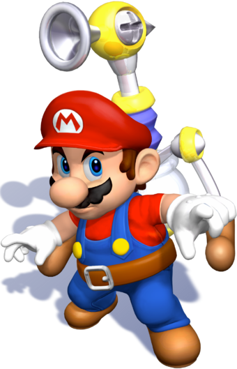 SMS Clean Mario FLUDD Pose Artwork.png