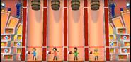 Keiko, Kentaro, and Gabi participating in Barrel Daredevil in Wii Party