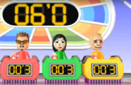 Cole, Misaki, and Fritz participating in Stop Watchers in Wii Party