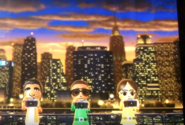 Patrick, Gwen, and Chika participating in Saucer Snap in Wii Party