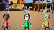 George, Giovanna and Takashi participating in Popgun Posse in Wii Party