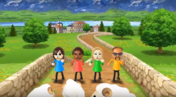 Hayley, Rachel, and Jake participating in Ram Jam in Wii Party