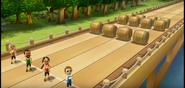 Keiko, Kentaro, and Gabi participating in Flap Hurdles in Wii Party
