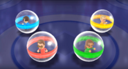 Cole, Naomi, and Fritz participating in Crash Balls in Wii Party
